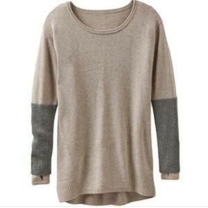 Athleta Sweater Medium Nopa Beige Gray 100% Merino